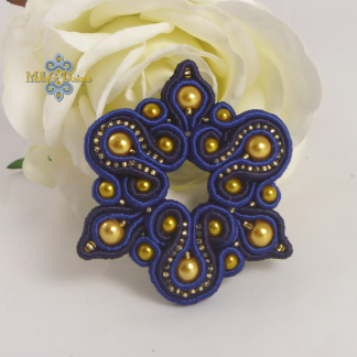 Statemenr Soutache Blue Brooch by MollyG Designs