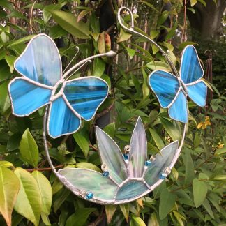 Stained Glass Butterfly Hoop in pale blue