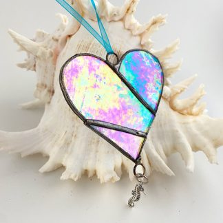 Blue stained glass heart