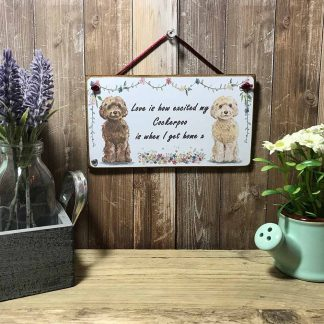 Cockerpoo Dog Wooden Quote Sign on wooden background with lavender and flowers