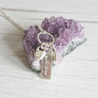 Sterling silver charm necklace with lavender amethyst by Thistledown WIshes
