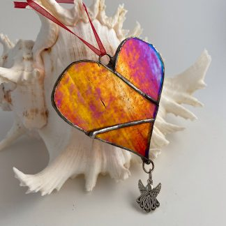 Red stained glass heart