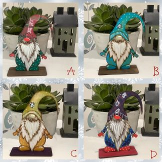 Wood painted gnomes freestanding