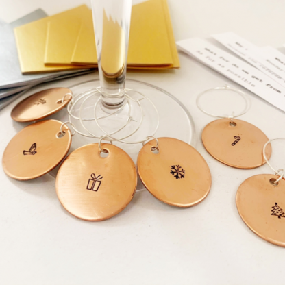 Copper Christmas wine charms