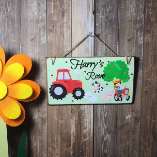 Personalised Farm Children's Wooden Room Sign on wooden background with orange flower