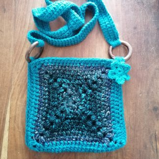 granny square crocheted bag teal