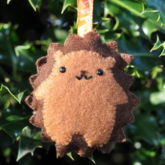 Cute felt hedgehog Christmas decoration