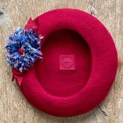 Felt beret with coordinating tartan flower and petersham bow, red