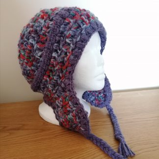 crocheted ear flap hat purple red blue