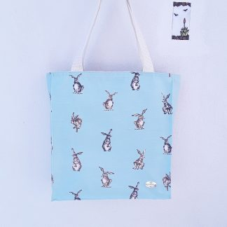 Large tote bag with boxed sides in cute rabbits design