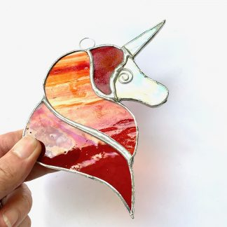 Red and Orange stained glass unicorn