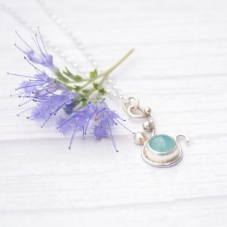 Silver necklace with chalcedony gemstone by Thistledown Wishes