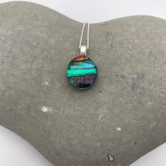 Teal oval shaped mosaic dichroic glass pendant