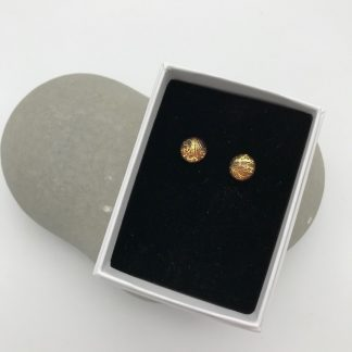 Red with gold fibre pattern dichroic glass stud earrings
