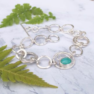 Sterling silver link bracelet with amazonite by Thistledown Wishes