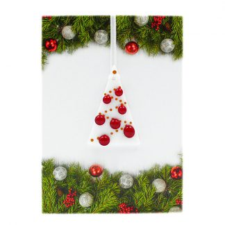 Christmas card with gift, red and white fused glass tree decoration