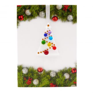 Rainbow Christmas tree card, handmade rainbow fused glass