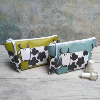 matt cow make up bag in choice of two colourways