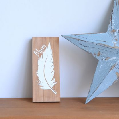 personalised rustic remembrance wooden sign with a white feather