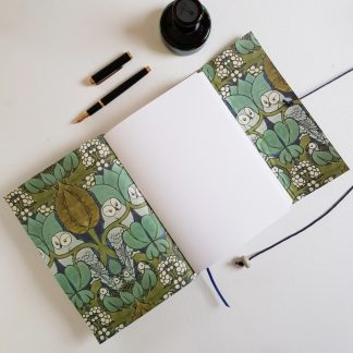 Owl Journal Bound in Lichen Green Leather, A5, Mallory Journals