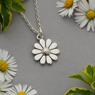 Handmade sterling silver daisy pendant necklace on oval belcher chain 15mm 17mm 20mm