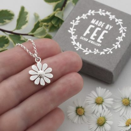 Handmade dainty 15mm sterling silver daisy pendant necklace on oval belcher chain