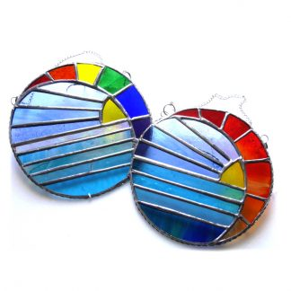 Rainbow Sunset Moon Sea suncatcher stained glasserisunse