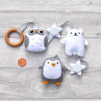hanging Christmas decoration with owl, polar bear and penguin and stars