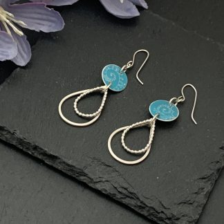 turquoise aluminium discs with sterling silver double tear drops