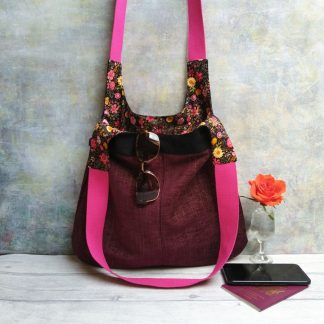 burgundy textile and repurposed denim boho hobo bag