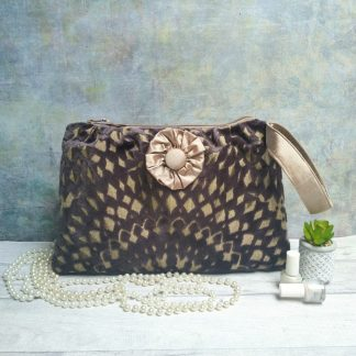 Chenille clutch bag with a silk lining