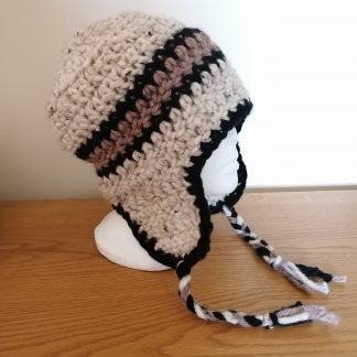crocheted andes hat in browns