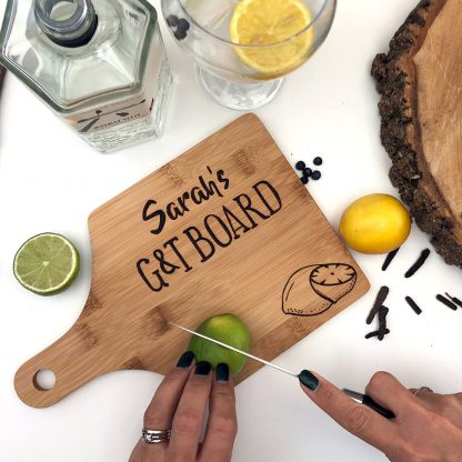 personalised wooden gin board