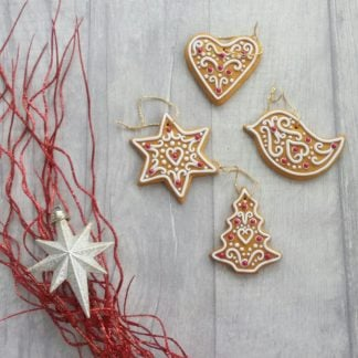 Polymer clay gingerbread biscuit christmas decoration with icing and glass beads - bird, tree, heart, star
