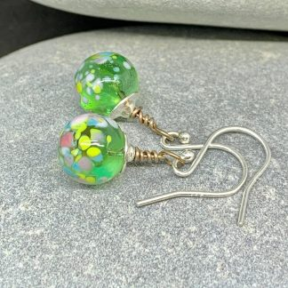 green bauble earrings