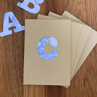 initial notecards set 10 blue paper