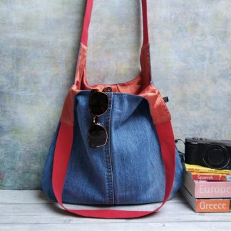 faded repurposed denim shoulder bag with silk lining
