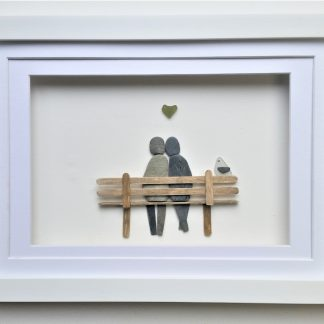 pebble couple on bench