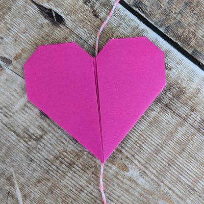pink origami paper heart