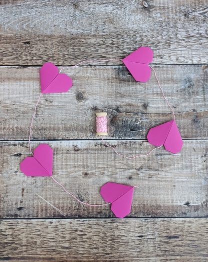 pink origami paper hearts bunting