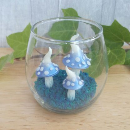 Handmade spotted toadstool ornament which glows in the dark