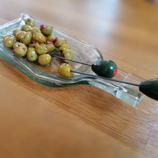 flattened bottle olive tray
