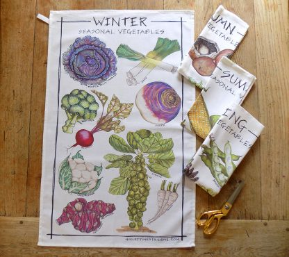 seasonal vegetable tea towels
