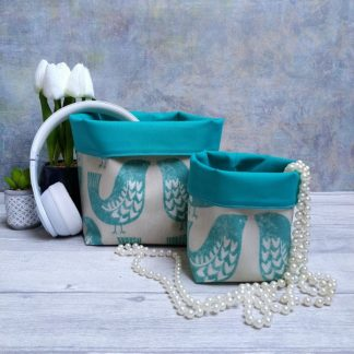 Turquoise scandi birds contemporary baskets