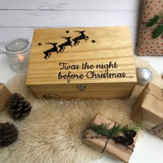 flying reindeer wooden christmas box