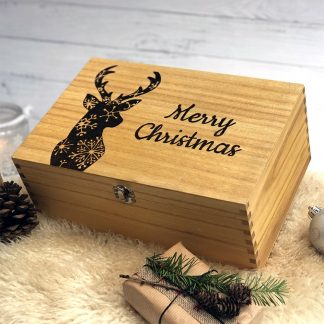 Merry Christmas Reindeer Wooden Box