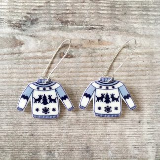 Christmas jumper drop earrings