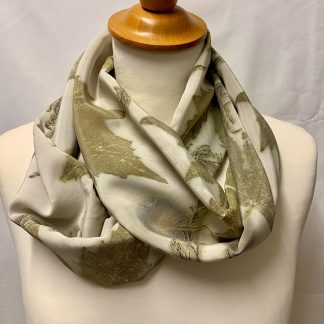 Green leaves on pale background silk scarf
