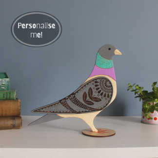 standing wooden pigeon hand painted etchable laser design