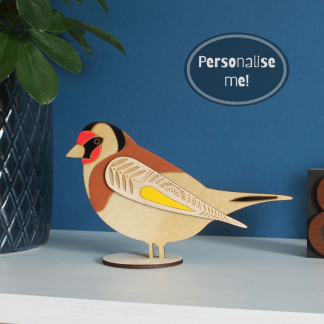 standing wooden goldfinch hand painted etchablelaserdesign
